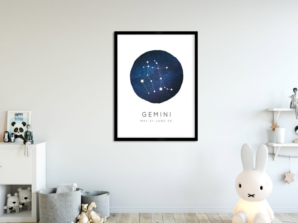 a poster on a wall in a child's bedroom that shows the gemini constellation