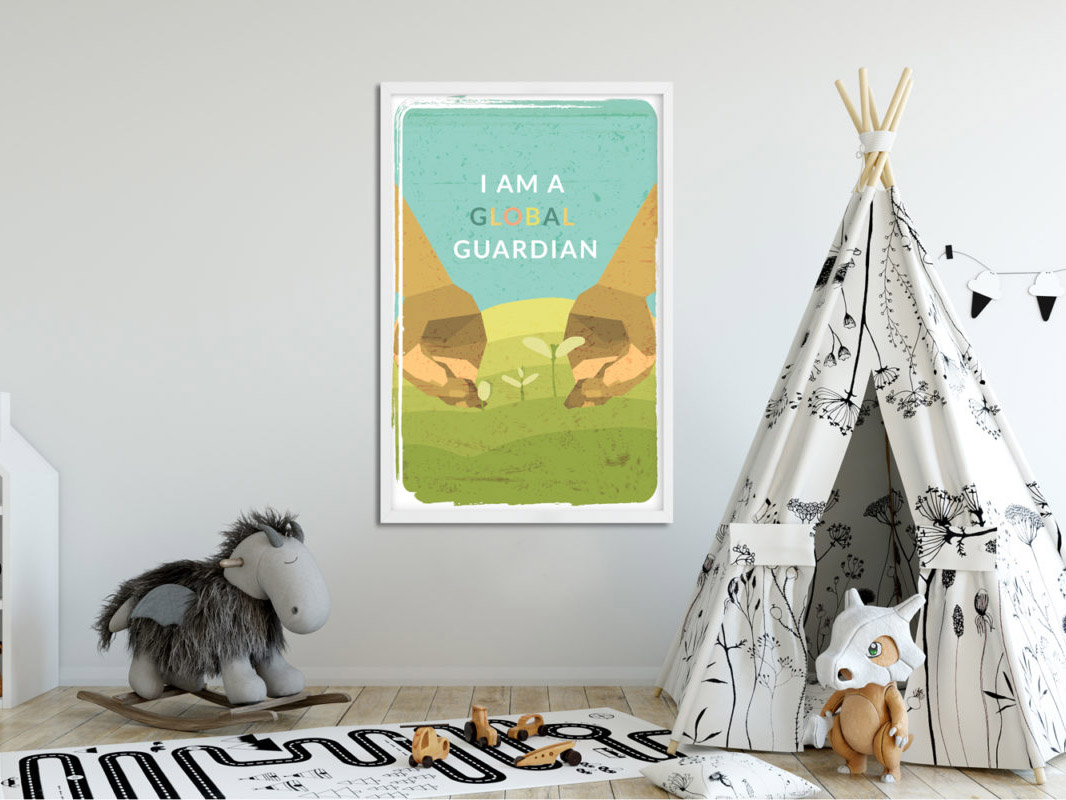 a poster on a wall in a childs bedroom that says i am a global guardian